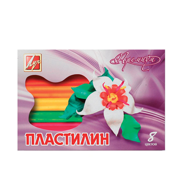 Пластилин восковой ПРЕМИУМ 8 цв. 140 г стек