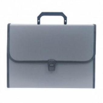 Портфели inФОРМАТ А4 серый пластик 0,7 мм 13 отделений ручка замок оторочка