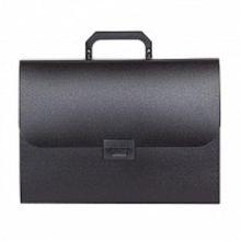 Портфели inФОРМАТ А4 черный пластик 0,7 мм 13 отделений ручка замок