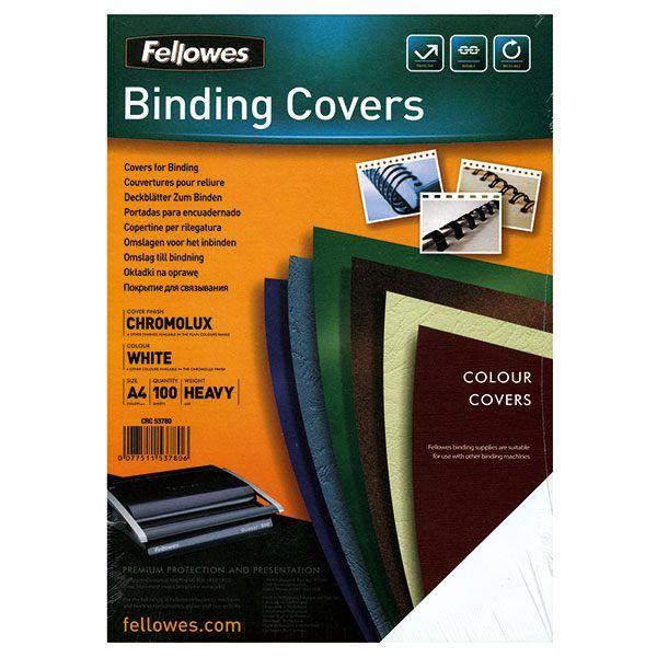 Обложка д/переплета FELLOWES CHROMO белый картон глянц.  А4 250 мкм 100 шт/уп