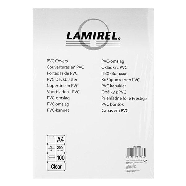 Обложка д/переплета LAMIREL прозр. пластик А4 200 мкм 100 шт/уп
