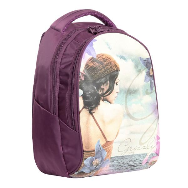Рюкзак ВИНТАЖ нейлон экокожа 29х39х16 см фиол.