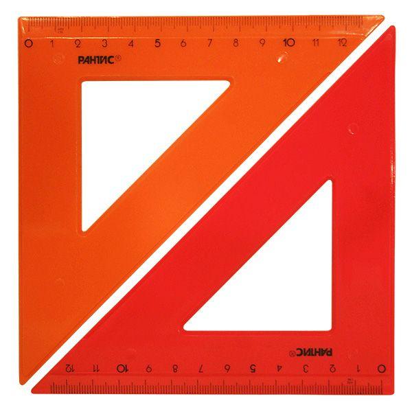Треугольник 45 гр 14 см пласт. ассорти непрозр.