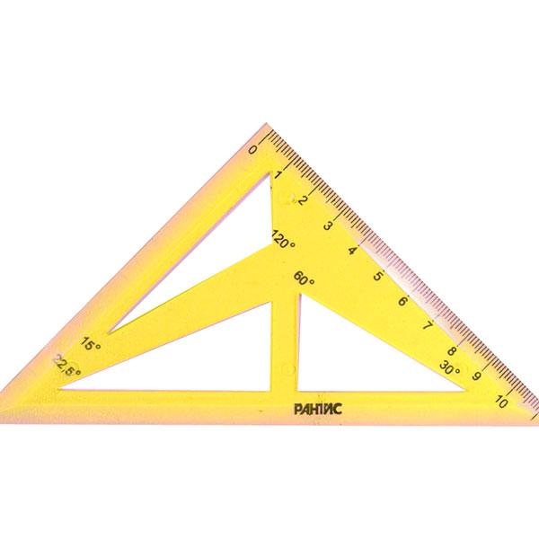 Треугольник-трафарет 45 гр 11 см пласт. желт.