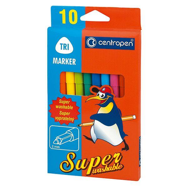 Фломастеры CENTROPEN 10 цв. карт. упак. треуг. корп. суперсмываемые