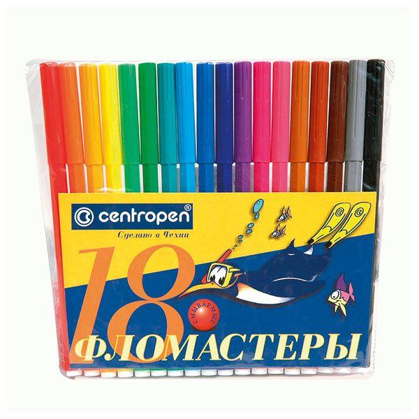 Фломастеры CENTROPEN 18 цв. конверт кругл. корп. смываемые