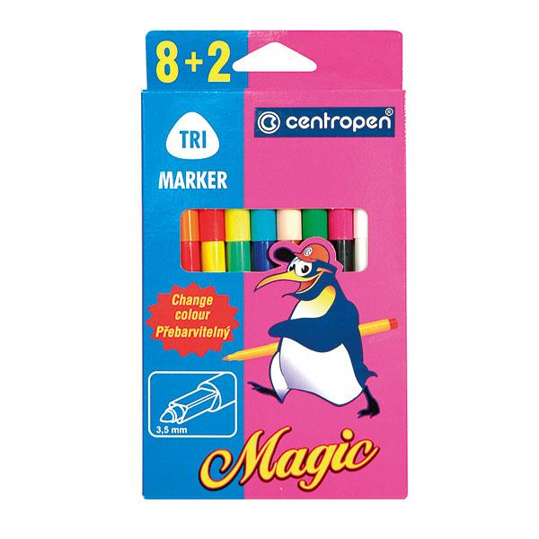 Фломастеры CENTROPEN MAGIC 10 цв. карт. упак. треуг. корп.