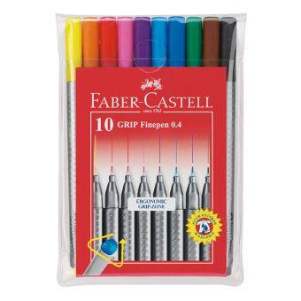 Капиллярная ручка GRIP, 0,4мм, набор цветов, в футляре, 10 шт.