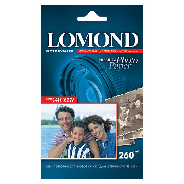 Фотобумага LOMOND PHOTO Semi Glossy (полуглянц.) 20 л. 260 г/м2 А6