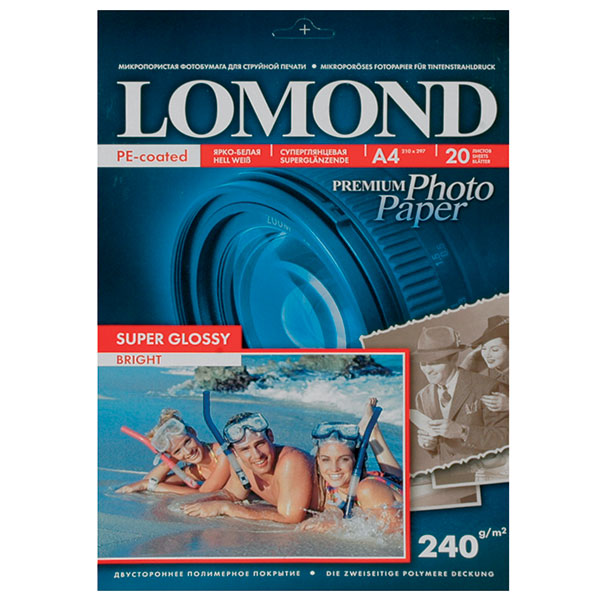Фотобумага LOMOND PHOTO Super Glossy Bright (суперглянц.ярко-белая) 20 л. 240 г/м2 А4