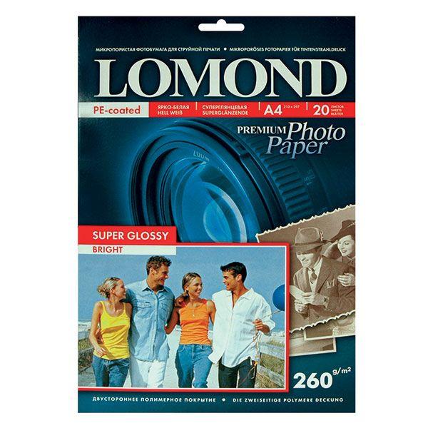 Фотобумага LOMOND PHOTO Super Glossy Bright (суперглянц.ярко-белая) 20 л. 260 г/м2 А4