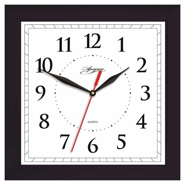 Часы APEYRON квадрат. черн./белые плавн.ход