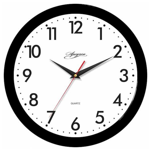Часы APEYRON круглые черн./белые шаг.механизм