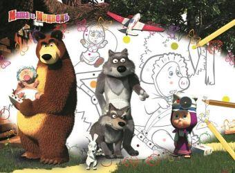 Маша и Медведь. Большая раскраска - цветная подсказка. Анимаккорд, Маша и Медведь
