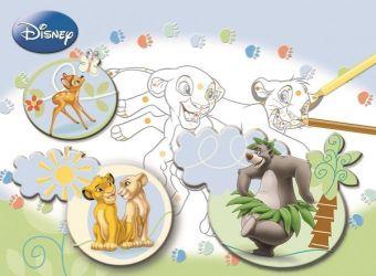 Животные Disney. Большая раскраска - цветная подсказка. Disney, Классические герои
