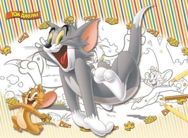 Том и Джерри. Большая раскраска - цветная подсказка. Warner Brothers, Том и Джерри