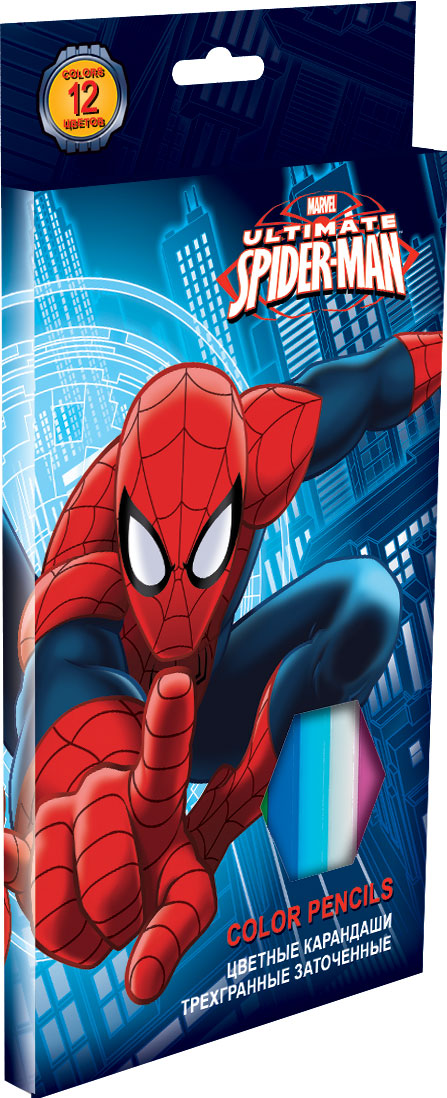 Набор цветных карандашей, 12 шт. (треугольные толстые). Цветные карандаши длиной 17,8 см; заточенные; розовое дерево; цветной грифель 4 Spider-man