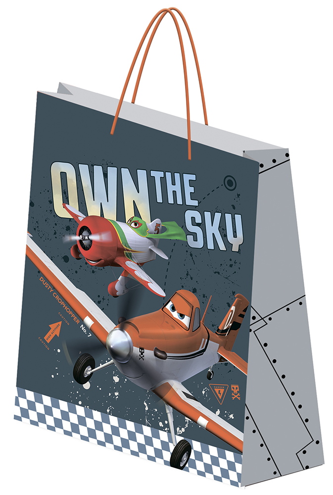 Пакет подарочный,  33 х 43 х 10 см, эффект: матовая ламинация, плотность бумаги 157 гр/м2 упак. 12/120/240 шт. Planes