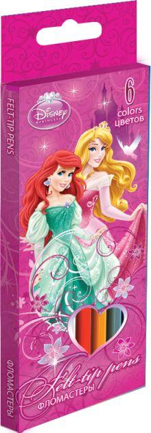 Набор цветных фломастеров, 6 шт.  Размер одного фломастера ?  14,3х0,8 см. (с колпачком). Высококачественный нетоксичный пластик, Princesses