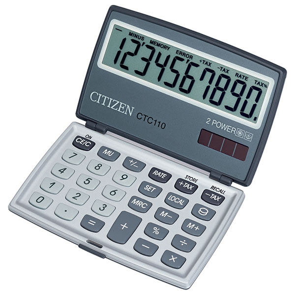 Калькулятор CITIZEN CTC110 10 р серый карманный