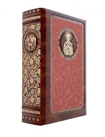 Мудрость православия: Афоризмы, притчи, изречения. Книга в коллекционном кожаном инкрустированном переплете и орнаментальным обрезом
