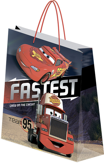 Пакет подарочный бумажный Cars 18х21х8,5 лам
