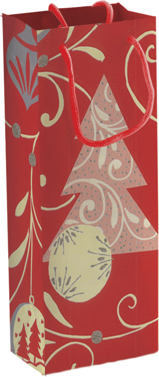 Пакет подарочный бутылочный бумажный 12х36х9,5 металл лам