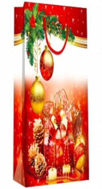 Пакет подарочный бутылочный бумажный 13х36х8,5 лам