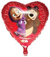Маша и Медведь - Мини-шар фольг. сердце 9''