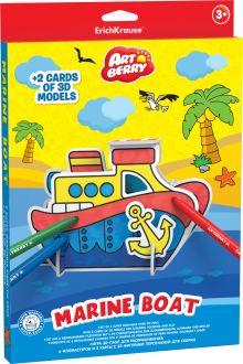 Игровой 3D пазл для раскрашивания Artberry/Marine Boat (6 флом+2 карты с фигур д/сборки) (Разноцветн)
