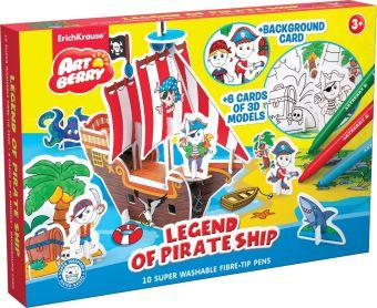 Игровой 3D пазл для раскраш Artberry/Legend of Pirate Ship (10 флом+6 карт с фигур д/сборки+игровое поле) (Разноцветн)