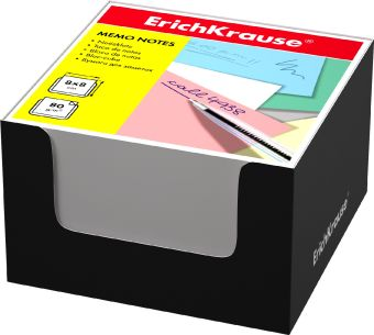 Блок бумаги Erich Krause 8*8*5 см в черной картонной подставке (Белый)