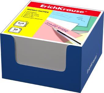 Блок бумаги Erich Krause 8*8*5 см в синей картонной подставке (Белый)