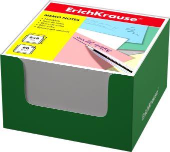 Блок бумаги Erich Krause 8*8*5 см в зеленой картонной подставке (Белый)