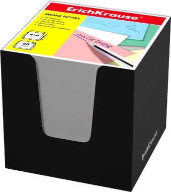 Блок бумаги Erich Krause 8*8*8 см в черной картонной подставке (Белый)