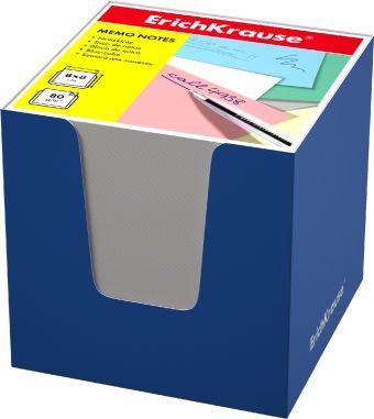 Блок бумаги Erich Krause 8*8*8 см в синей картонной подставке (Белый)