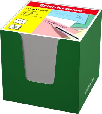 Блок бумаги Erich Krause 8*8*8 см в зеленой картонной подставке (Белый)