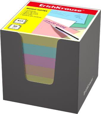 Блок бумаги Erich Krause 8*8*8 см в серой картонной подставке (Ассорти)