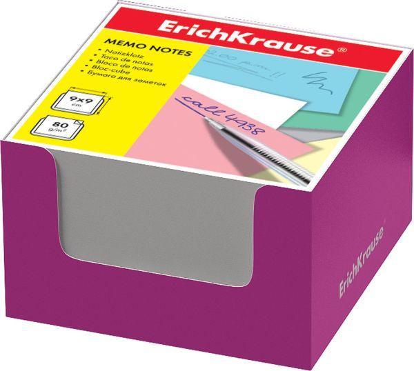 Блок бумаги Erich Krause 9*9*5 см в розовой картонной подставке (Белый)