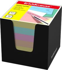 Блок бумаги Erich Krause 9*9*9 см в черной картонной подставке (Ассорти)