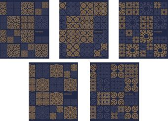 Тетрадь,48л Арабский узор, бронза + синий (Линейка)