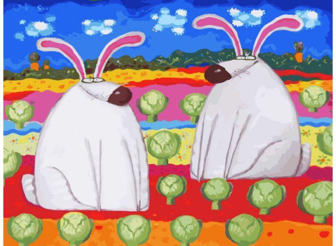 Живопись на холсте. Размер 30*40 см.. Весёлые зайцы (774-AS )