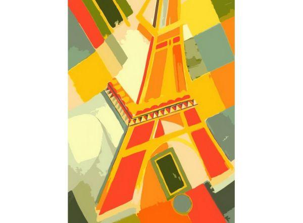 Живопись на холсте. Размер 30*40 см.. Взгляд на Эйфелеву башню (707-AS )