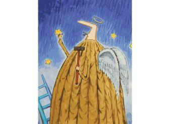 Живопись на холсте. Размер 30*40 см.. Заботливый ангел (776-AS )