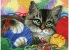 Набор для хобби и творчества Живопись на холсте. Размер 30*40 см.. Котик с клубочками (786-АS )