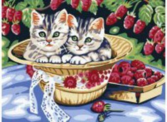 Живопись на холсте. Размер 30*40 см.. Котята в саду (013-CE )
