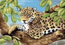 Живопись на холсте. Размер 30*40 см.. Леопард в лесу (240-CE )