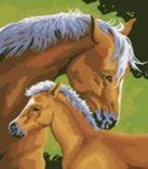 Живопись на холсте. Размер 30*40 см.. Лошадь и жеребенок (207-CE )