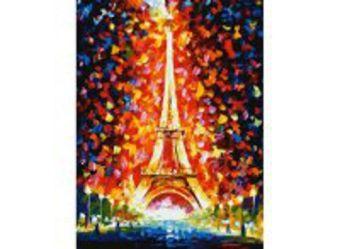 Живопись на холсте. Размер 30*40 см.. Париж - огни Эйфелевой башни (026-AS )