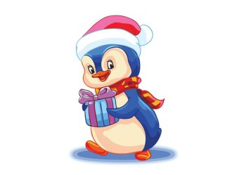 Живопись на холсте. Размер 30*40 см.. Пингвин с подарком (713-AS )